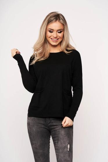 Fekete casual zsebes női blúz kerekített gallérral vékony anyagból