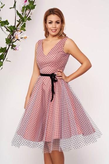 Púder rózsaszínű StarShinerS ruha tüllből pöttyös alkalmi midi harang ujjatlan