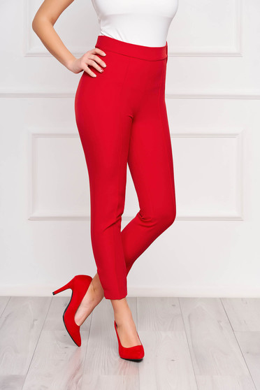 Piros StarShinerS irodai kónikus zsebes magas derekú nadrág enyhén rugalmas anyagból