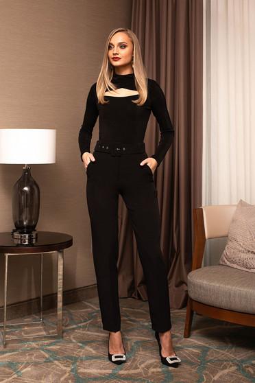 Fekete irodai kónikus magas derekú nadrág öv típusú kiegészítővel
