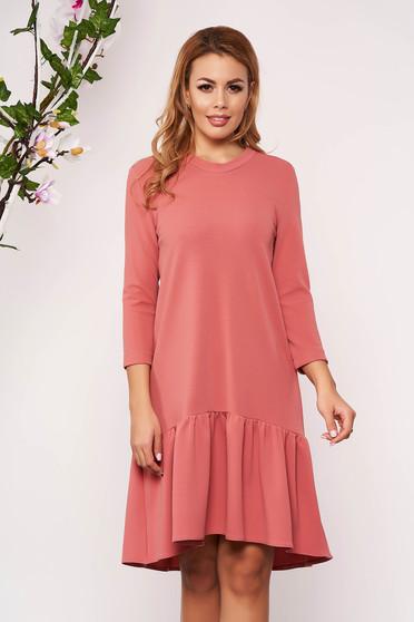 Pink StarShinerS hétköznapi bő szabású ruha háromnegyedes ujjakkal fodrok a ruha alján bélés nélkül