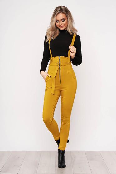 Mustársárga casual stretch overál tartozékkal cipzárok