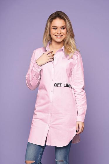 Rózsaszín casual bő szabású hímzett asszimmetrikus női ing hosszú ujjakkal