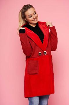 Piros casual egyenes fix kapucnis kabát műszőrme berakásokkal