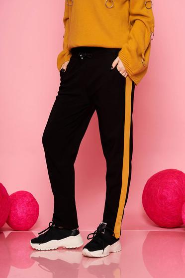 Mustársárga casual derékban zsinóros zsebes gumírozott derekú egyenes nadrág