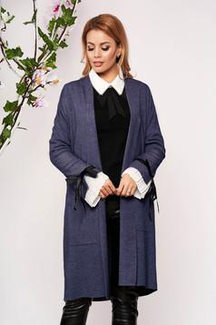 Kék elegáns hosszú kötött elöl zsebes kardigán masnikkal bélés nélkül