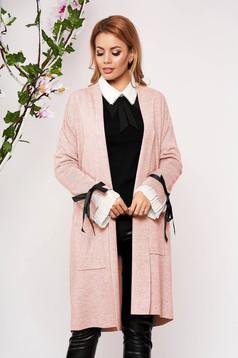 Világos rózsaszínű elegáns hosszú kötött elöl zsebes kardigán masnikkal bélés nélkül