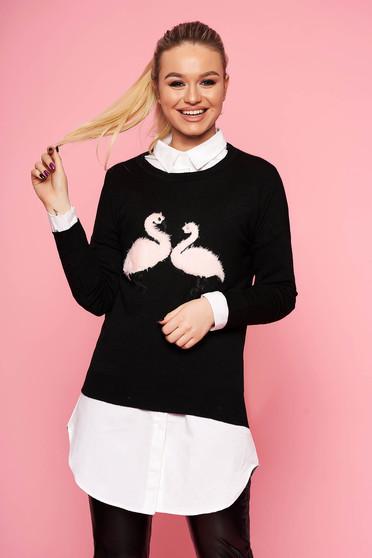 Fekete casual bő szabású kötött rövid pulóver pólónyakkal műszőrme berakásokkal