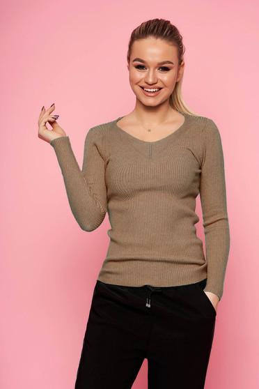 Barna casual rövid szűk szabású kötött pulóver v-dekoltázzsal hosszú ujjakkal