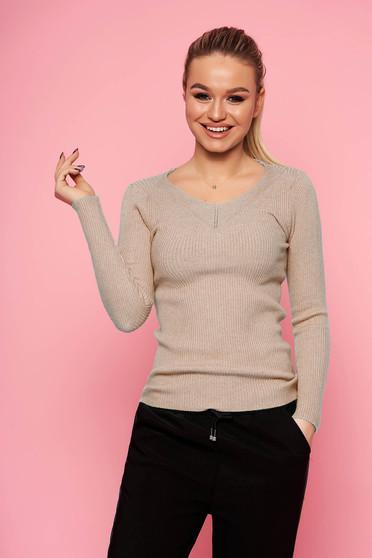 Cappuccinobarna casual rövid szűk szabású kötött pulóver v-dekoltázzsal hosszú ujjakkal