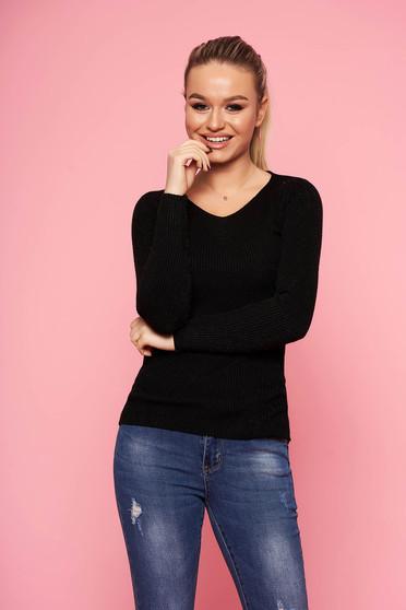 Fekete casual rövid szűk szabású kötött pulóver v-dekoltázzsal hosszú ujjakkal