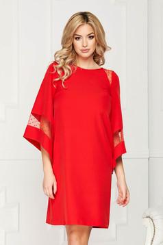 Piros StarShinerS alkalmi midi bő szabású ruha béléssel