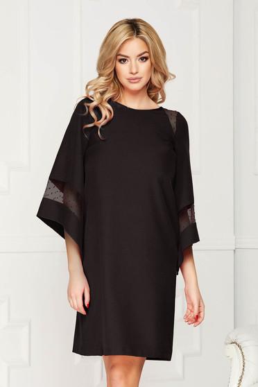 Fekete StarShinerS alkalmi midi bő szabású ruha béléssel