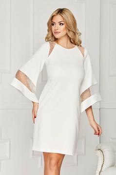 Fehér StarShinerS alkalmi midi bő szabású ruha béléssel