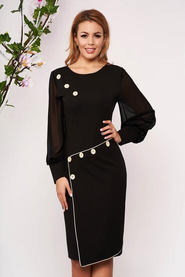 Fekete alkalmi karcsusított szabású ruha szövettel muszlin ujjakkal bélés nélkül