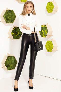 Fekete elegáns magas derekú szűk szabású kónikus nadrág műbőrből