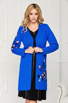 Kék elegáns egyenes szabású kardigán gyapjúból hosszú ujjakkal virágos hímzéssel
