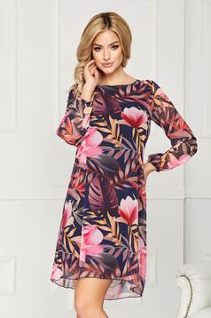 Pink ruha muszlinból virágmintás elegáns a-vonalú hosszú ujjakkal