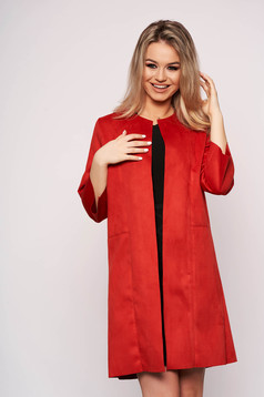 Piros casual egyenes szabású kardigán velúrból háromnegyedes ujjakkal