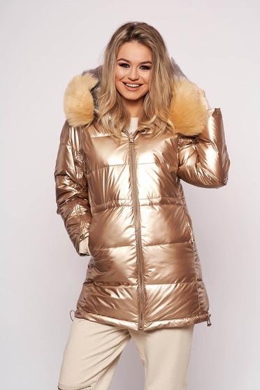 Aranyszínű casual vízhatlan gumírozott derekú dzseki eltávolítható szőrme gallérral