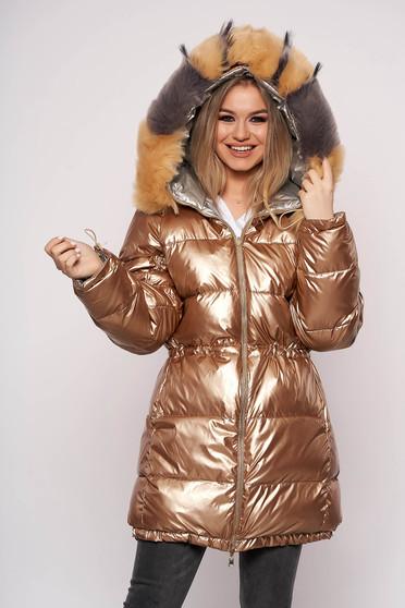 Aranyszínű casual vízhatlan zsebes dzseki eltávolítható szőrme gallérral