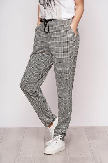 Szürke casual zsebes egyenes magas derekú dogtooth mintás nadrág