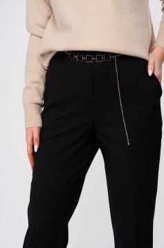 Fekete casual kónikus nadrág vékony szövetből zsebekkel
