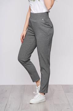 Sötétszürke casual magas derekú nadrág zsebekkel dogtooth mintával