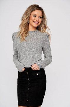 Szürke pulóver casual strassz köves díszítés
