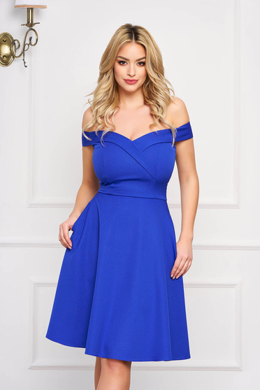 Kék StarShinerS alkalmi midi váll nélküli harang ruha