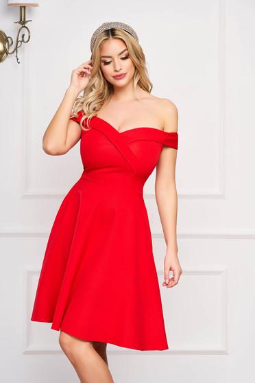 Piros StarShinerS alkalmi midi váll nélküli harang ruha