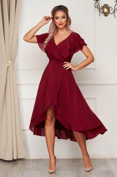 Burgundy StarShinerS hosszú alkalmi ruha muszlinból fodros felsőrésszel