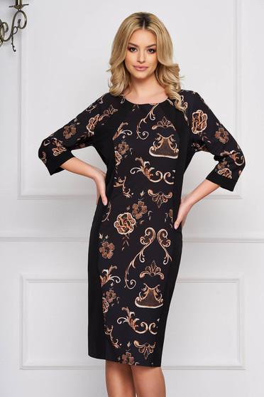 Fekete elegáns egyenes ruha grafikai díszítéssel szövetből