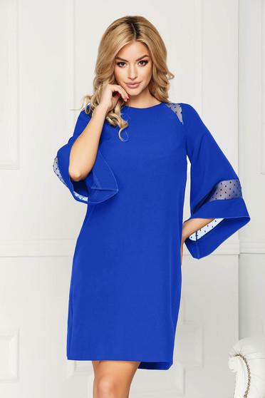 Kék StarShinerS alkalmi midi bő szabású ruha szövetből anyagberakásokkal selyem muszlinból béléssel