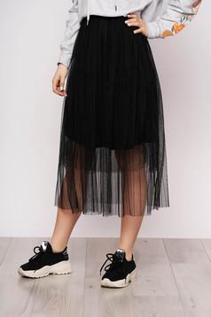 Fekete szoknya casual midi harang tüllből gumírozott derekú béléssel