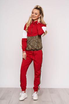 Piros casual sportos szettek enyhén elasztikus pamut leopárdmintás zsebes