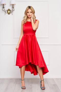 StarShinerS piros midi alkalmi aszimetrikus harang ruha szaténból kivágott hátrésszel