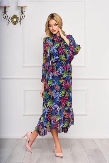 Pink elegáns midi harang aszimetrikus ruha muszlinból virágmintás díszítéssel