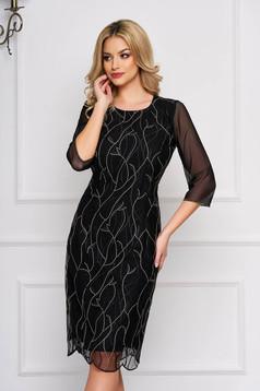 Fekete StarShinerS elegáns ruha háromnegyedes ujjakkal szövetből
