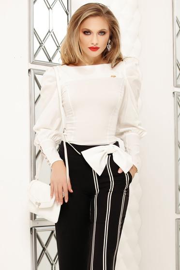 Fehér irodai szűk szabású rövid női ing
