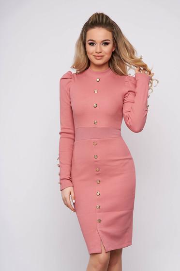 Púder rózsaszínű elegáns pamutból készült magas nyakú rövid ceruza ruha