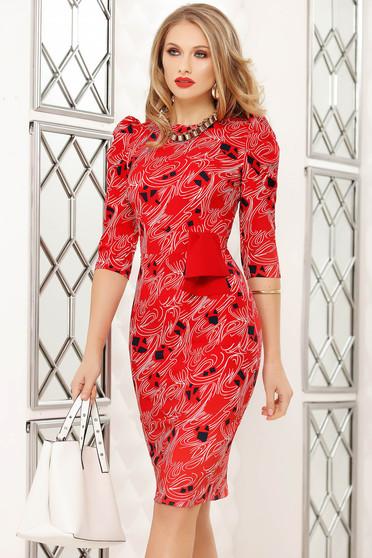 Piros midi irodai ceruza ruha masni és grafikai díszítéssel
