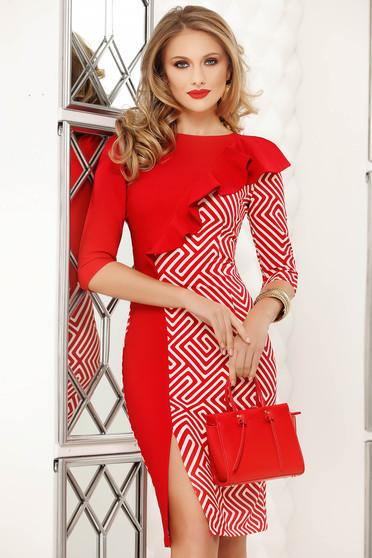 Piros fodros irodai midi lábon sliccelt ceruza ruha grafikai díszítéssel