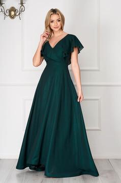 StarShinerS zöld alkalmi ruha deréktól bővülő szabású fodrokkal a dekoltázs vonalánál