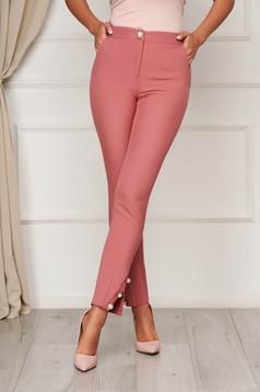 Pink elegáns egyenes zsebes nadrág