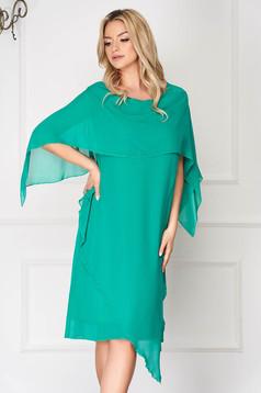 Zöld ruha elegáns muszlinból egyenes aszimetrikus muszlin anyagátfedés