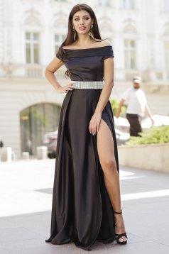 Fekete ruha alkalmi hosszú harang szaténból lábon sliccelt