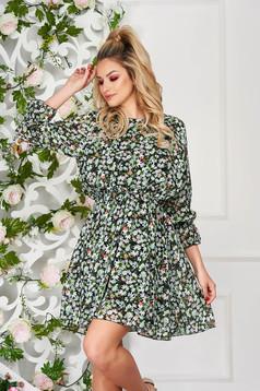 Zöld hétköznapi rövid harang ruha virágmintás muszlinból