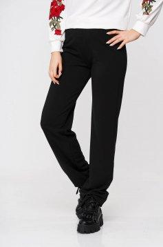 Fekete StarShinerS casual gumírozott derekú pamutból készült bővülő nadrág