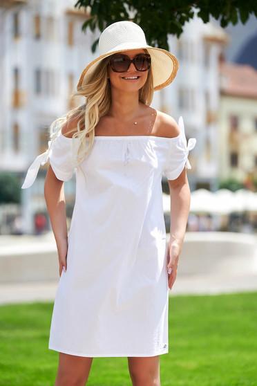 Fehér casual rövid bő szabású pamutból készült ruha
